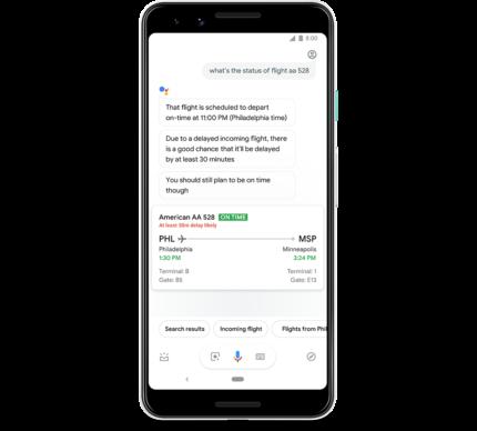 Google Assistant meldt vluchtvertragingen